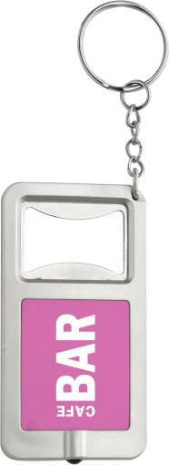 L'objet publicitaire Porte-clés avec décapsuleur et lampe led