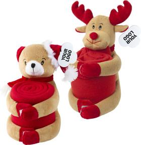 L'objet publicitaire L'ours de Noël Rodolphe avec couverture en polaire